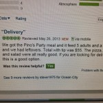 Pino's Pizza delivery review online screen grab