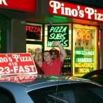 Pino's Pizza Delivery car and driver